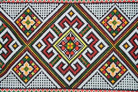 ethnic colorful pattern on pillow photo