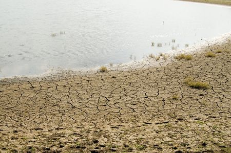 drying out lake with a cracked bank photo
