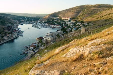 eminence: view on a Balaclava bay from a mountain Stock Photo