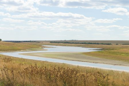 zigzag of the steppe river over the horizon Stock Photo - 3620522