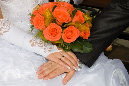 two hands close up just merried with rings photo