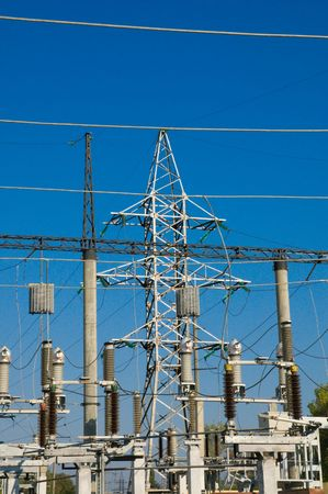 big power transmission pole on blue Stock Photo - 3780331