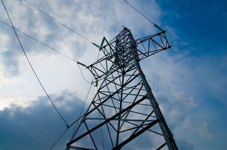 amperage: power transmission tower on sky