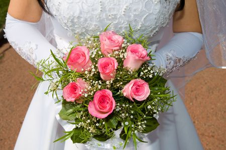wedding pink bouquet in married woman Stock Photo - 3780326