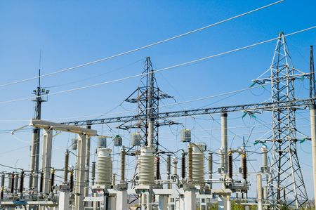electrical wires: view to ac substation high voltage Stock Photo