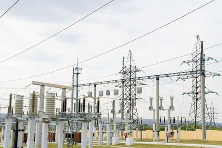 high-voltage substation with switch and breaker Stock Photo - 3815596