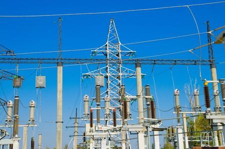 big power transmission pole on blue Stock Photo - 4034883