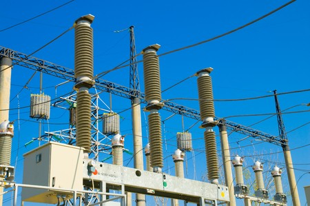 disconnecting switch on high-voltage substation Stock Photo - 4034888