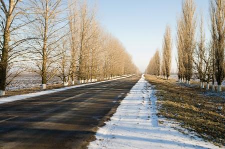 edge of traffic lane in winter photo