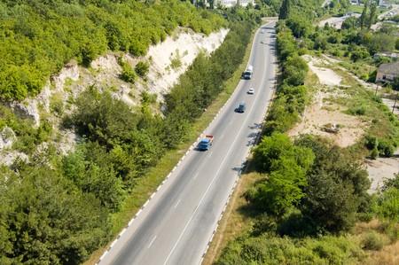 schlagbaum: Vogelperspektive auf Crimeas turnpike
