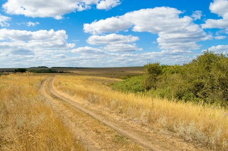 turn of steppe road to the right Stock Photo - 4229477