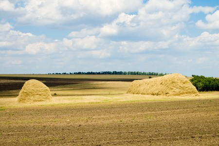 two large stack of straw on the field photo