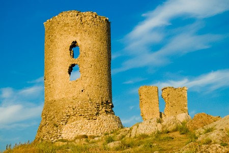 old Crimean citadel on blue sky background Stock Photo - 4425954