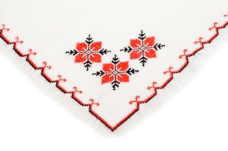 punto de cruz: servilleta bordada por patr�n de punto de cruz Foto de archivo
