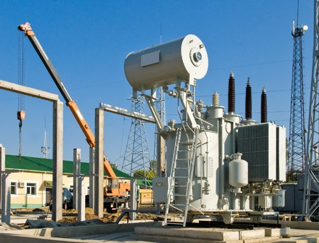 amperage: building on a high-voltage substation Stock Photo