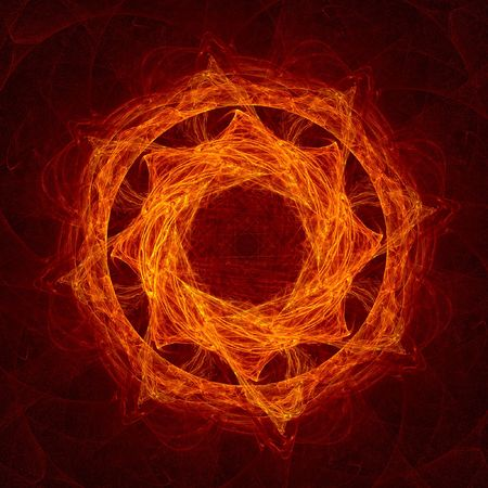 bedlam: red flame circle fractal Stock Photo