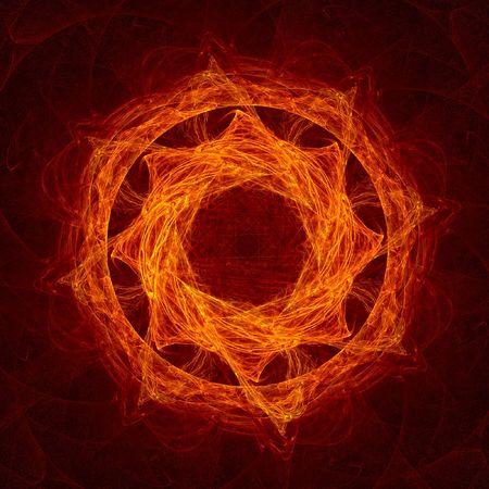 bedlam: red flame circle fractal Stock Photo