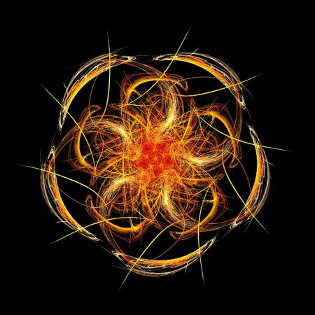 devil ray: red flame circle fractal Stock Photo