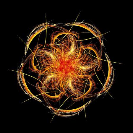 demonic: red flame circle fractal Stock Photo