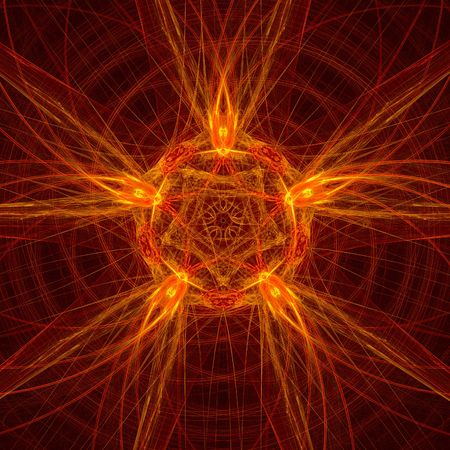abstract red star. fractal photo