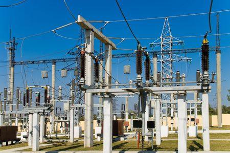 blackout: met het oog op hoge spanning onderstation  Stockfoto