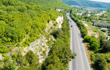 turnpike: birds eye view on Crimean turnpike Stock Photo