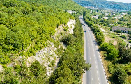 schlagbaum: Vogelperspektive auf Krim turnpike