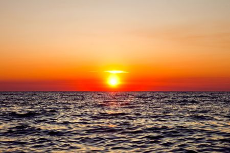 Red sunset on the Black Sea photo