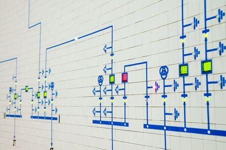 redes electricas: parte del moderno esquema el�ctrico es en la sala de control Foto de archivo