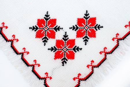Serviette: parte de servilleta bordado por patr�n de DMC  Foto de archivo