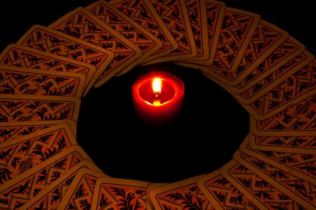 chiromancy: cards circle with candle Stock Photo