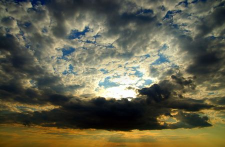 fine evening glow under low clouds photo