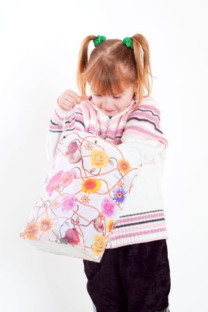little girl with bag photo