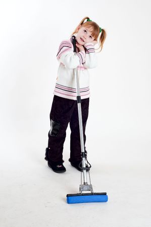 little girl with mop photo