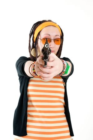 young girl with gun Stock Photo - 6679499