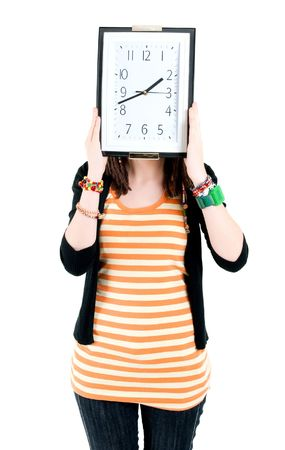 girl with clock on head Stock Photo - 6801972