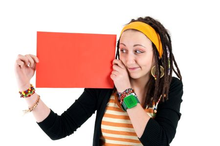 girl looking on red blank paper Stock Photo - 6801976