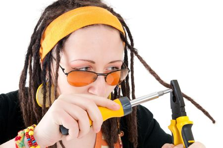 a girl repairs the hairs Stock Photo - 6801974