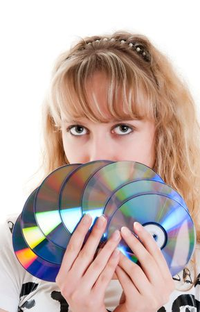 young beautiful girl with disks Stock Photo - 6801961