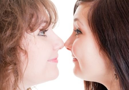 two sisters nose to nose photo