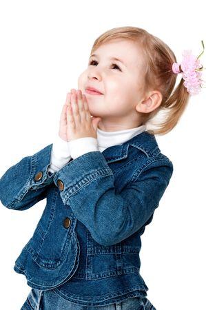 worshipping: praying little girl Stock Photo