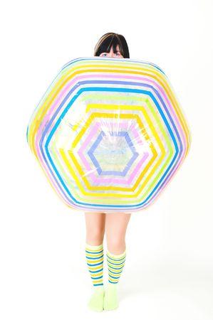 girl with big ball in studio photo