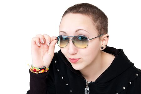 short-haired beautiful girl in sun glasses Stock Photo - 6802011