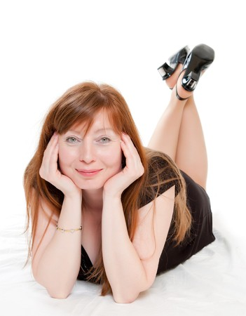 happy beautiful red-haired woman Stock Photo - 7117892