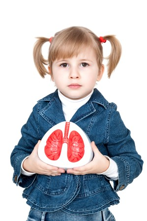 little girl with lungs in hand photo