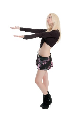 The young beautiful girl isolated with hands up Stock Photo - 7117831