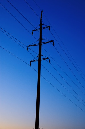 electric pillar in deep evening photo