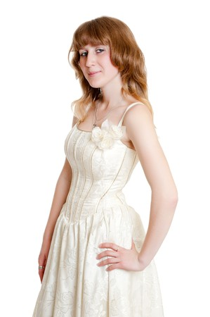 beautiful young woman in wedding dress photo