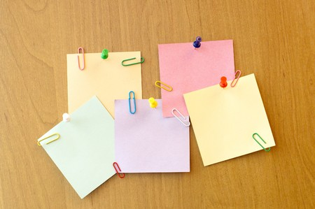 five sticker notes with pins and clips Stock Photo - 7155558