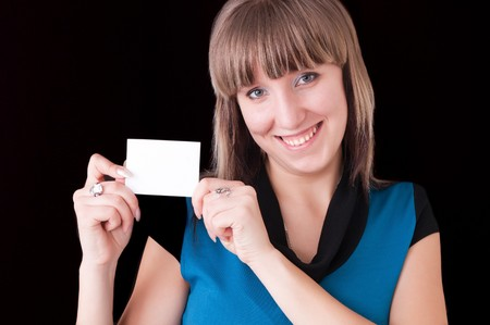 girl with blank card photo
